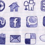 Doodled social media icons