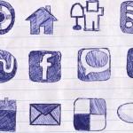 Doodled social media icons