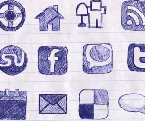 Doodled social media icons from knowtebook.com