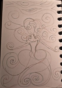 Original Sketch of Storm Goddess - Copyright R.Weal 2011
