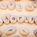Charity spelt out on pebbles