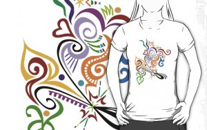 Example of a Rebubble t-shirt with Wealie abstract design