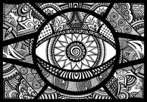 Hypnotica - Abstract fine liner doodle art zentangle design
