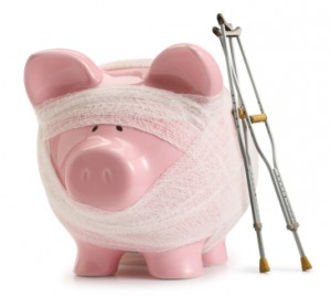 Conceptual image of a sick piggy bank