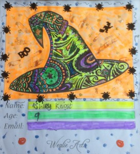 Witch's Hat Colouring Competition Entry - Winner Ashley Knight 9-10 age bracket