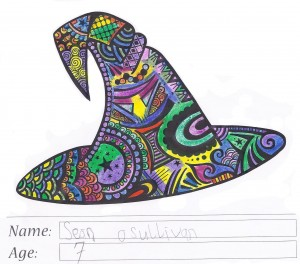 Witch's hat colouring competition entry - Sean O'Sullivan - Winner 7-8 age