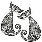 Abstract Pattern Illustration on Cartoon Cats