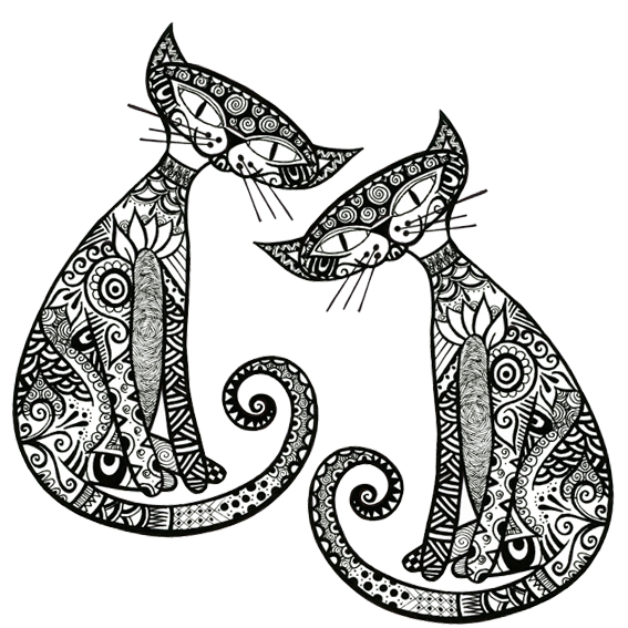 abstract pattern illustration on cartoon cats - Childrens Colouring